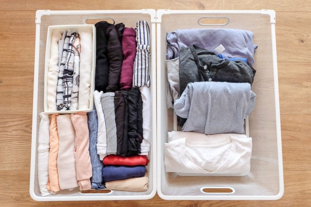 white metal drawers with folded clothes clear the clutter marie kondo