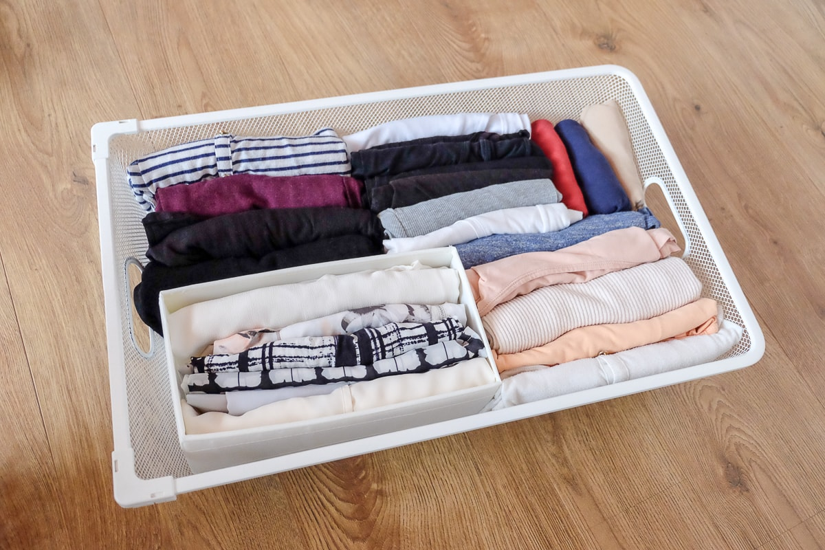 folded shirts in white drawer clear the clutter marie kondo