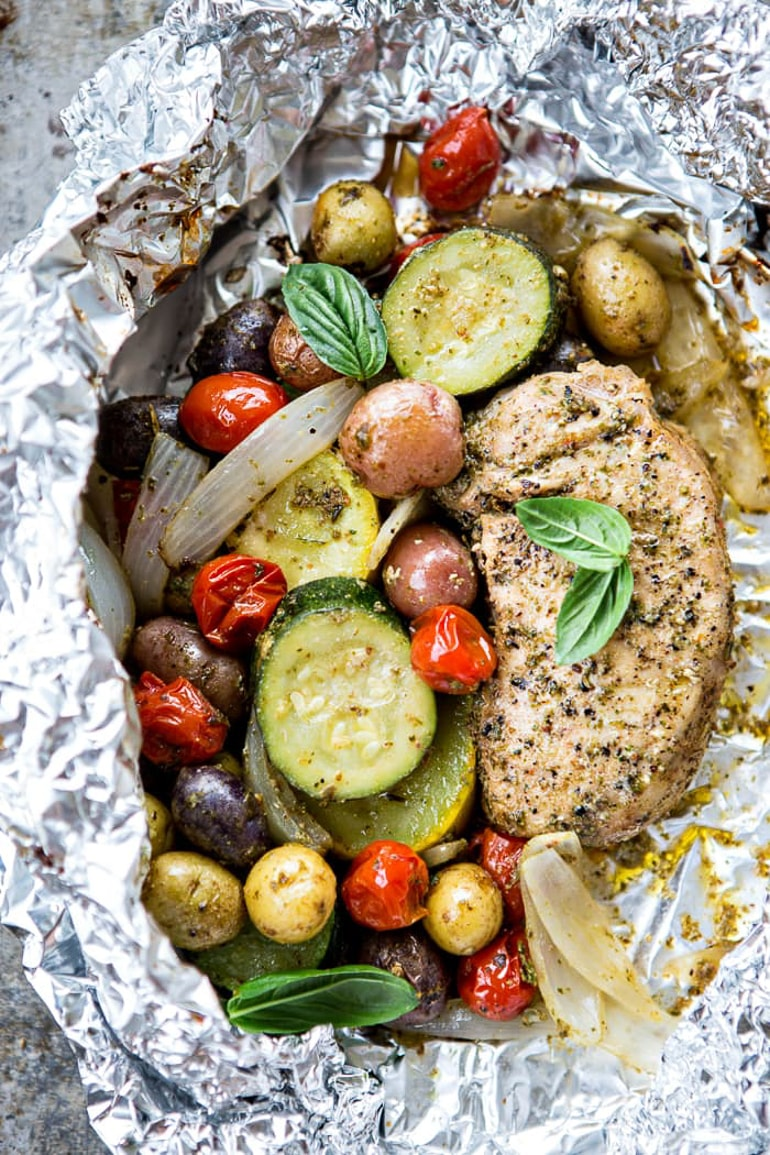 pork chop with vegetables in foil