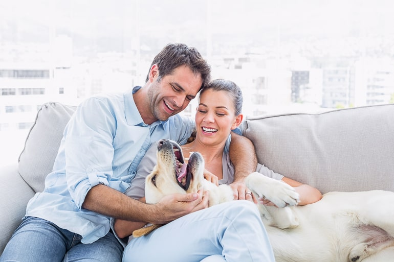 Couple sitting on couch hugging with dog on their lap bucket list