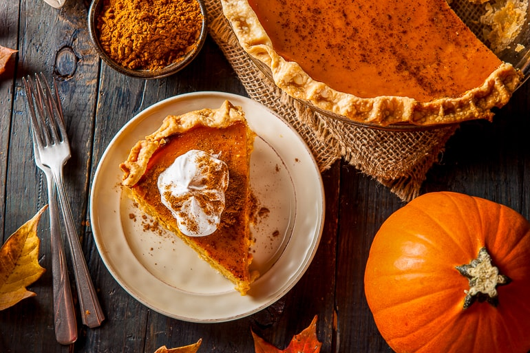 piece of pumpkin pie on plate with fork beside