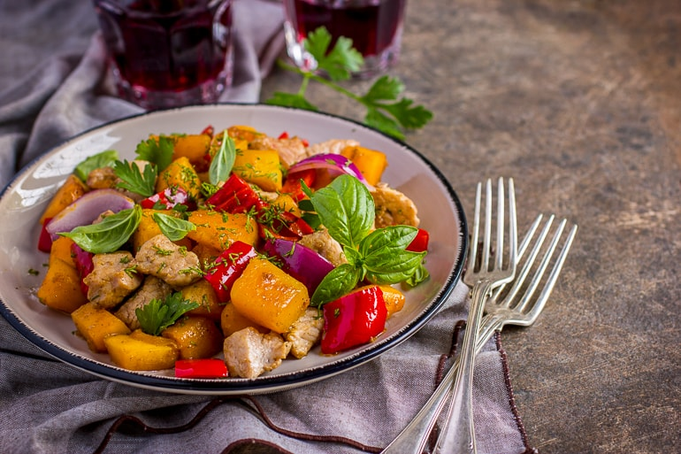food in bowl with utensils beside fall dinner ideas