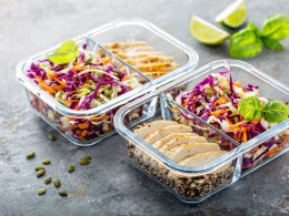 Clear containers with food on grey background how to eat healthy with no time