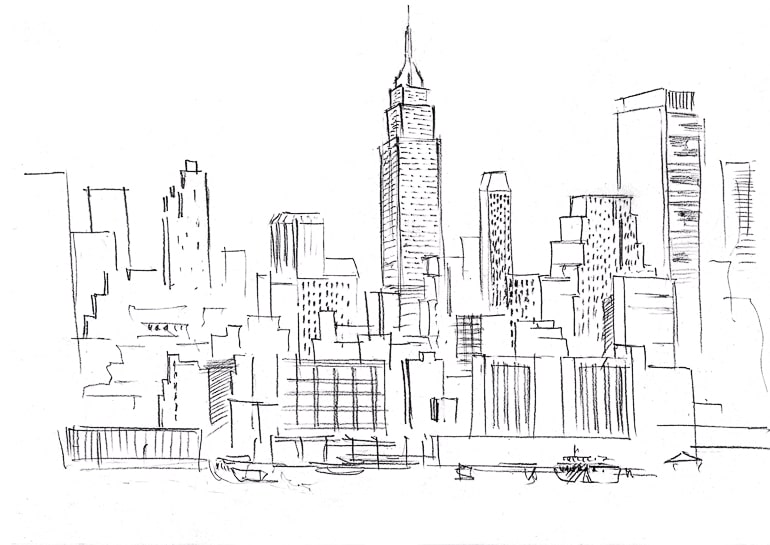 Black and white drawing of city long distance ideas