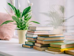 small stack of books beside plant on table self help books