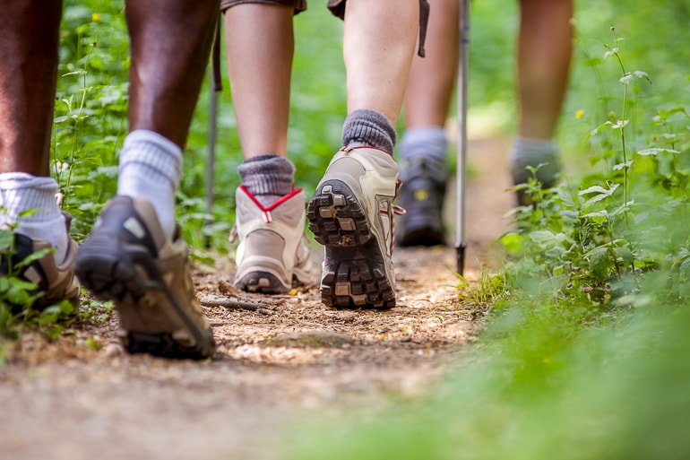 Legs with hiking shoes and hiking poles on forest ground